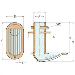 Aquafax Round Scoop Brass Skin Fittings - Image