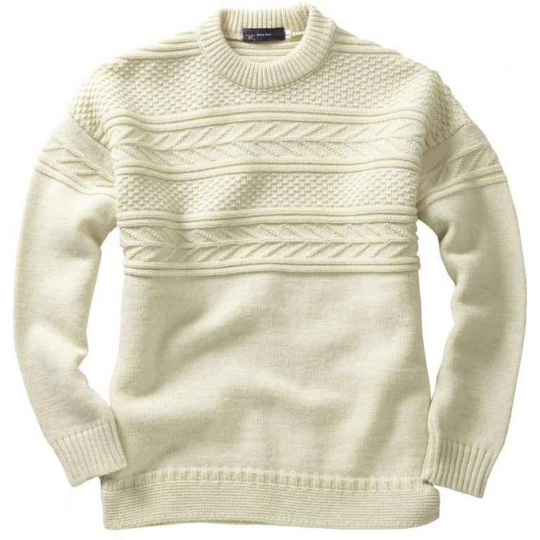 Crew Neck Guernsey Sweater - Ecru