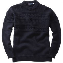 Crew Neck Guernsey Sweater - Navy