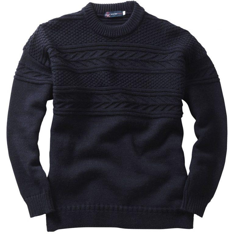 Crew Neck Guernsey Sweater - Navy