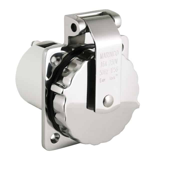 Marinco 16A Stainless Steel Power Inlet - Image