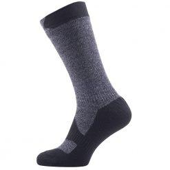 Sealskinz Walking Thin Mid Socks - Dark Grey Marl / Black