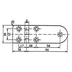 Talamex Stainless Steel Hinge 116 x 40 - Image