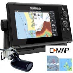 Simrad Cruise 7 Chartplotter Sonar with Transom Transducer - Image